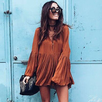 Women Sexy V Neck Blouse Loose Long Sleeve Top Pleated Mini Dress