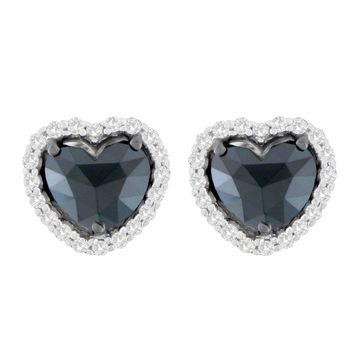 14K White Gold 2 1/2 CTTW Round and Heart-Cut Black Heart-Shaped Diamond Stud Earrings
