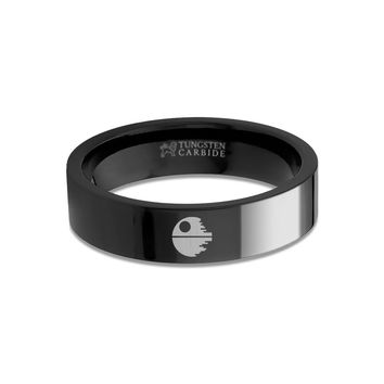Star Wars Death Star Laser Engraved Black Tungsten Wedding Band