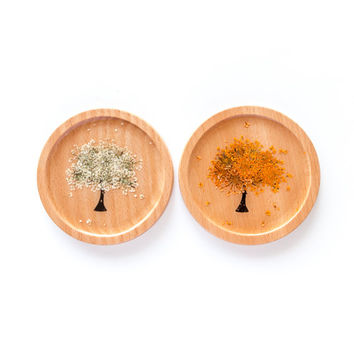 A Set of 2 Pressed Flower Wooden Coasters, drink coasters, table décor, home décor, Christmas gift