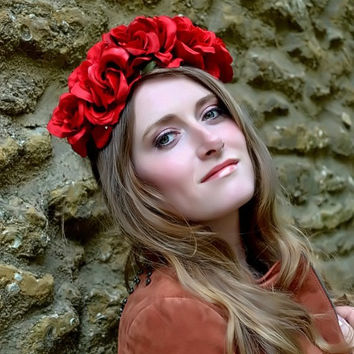 Floral crown flower crown rose crown headband wreath with red silk roses festival - 'Amor'