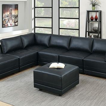 Poundex F805 7 pc Clayton III collection black bonded leather upholstered modular sectional sofa