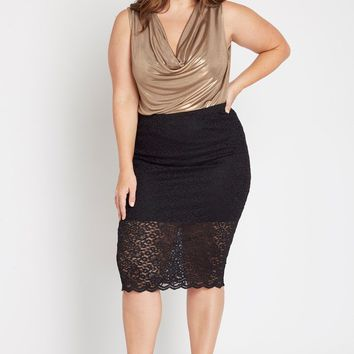 Estelle Lace Midi Skirt Plus Size