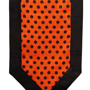 Burlap Halloween Runner, Orange,Black Dots