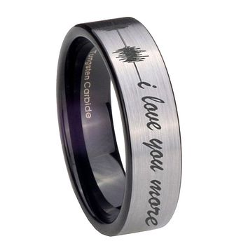 8MM Silver Black Sound Wave i love you more more Pipe Cut Tungsten Carbide Laser Engraved Ring