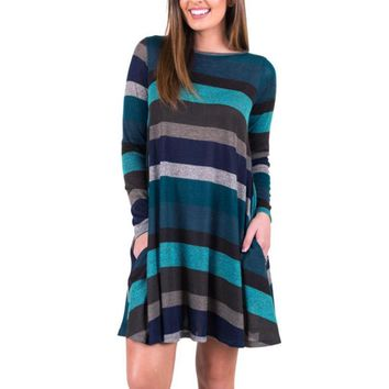 Mooistar #W003 2018 Winter Female Maxi Women Long Sleeve Striped Casual Swing Tunic Vestido Dress Loose Pockets