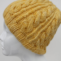 Hand knit yellow cable hat. hand knit merino wool beanie.