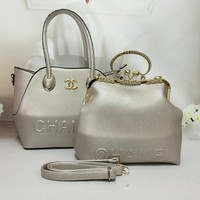 Chanel Women Leather Shoulder Bag Satchel Tote Handbag Crossbody Set Two Piece