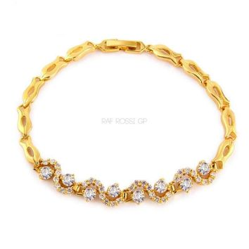 Clear Crystals Swirls Gold Plated Bracelet