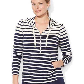 Lauren Ralph Lauren Plus Multi-Striped Half-Zip Sweater