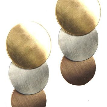 Circular Metal Post Earrings