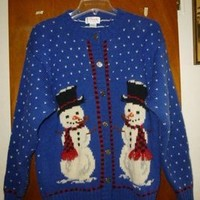 Orvis Womens Christmas Snowman Wool Cardigan Xl Sweater