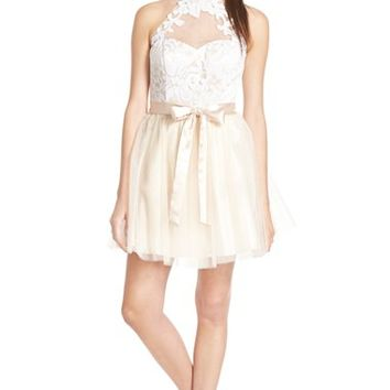 Junior Women's Steppin Out Sequin Illusion Bodice Skater Dress,