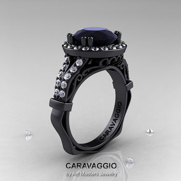 Caravaggio 14K Black Gold 3.0 Ct Black and White Diamond Engagement Ring, Wedding Ring R620-14KBGDBD
