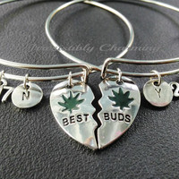 Sale.......Best buds, 2017 charm bracelet, silver tone expandable bangles, monogram personalized item No.897
