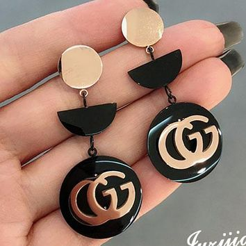 GUCCI hit color simple rose gold allergy earrings