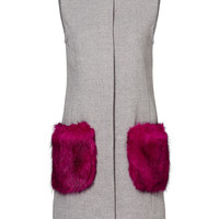 Unreal Fur Orchid Pocketed Grey Vest