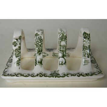 RARE Masons Vintage English Green Transferware Toast Rack or Letter Organizer Fruit Basket