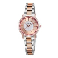 ZLYC Women Simple Fashion Two-tone Stainless Steel Band Round Face Quartz Wrist Watch Gold