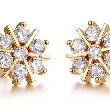 14k gold earrings plated star stud swarovski crystal earrings