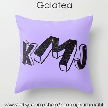 "Monogram Personalized Custom Pillow Cover ""Galatea"" 16x16 Couch Art Bedroom Decor Initials Name Letters Dark Purple Space Stars Galaxy Stars"