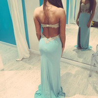 A Line Baby Blue Backless Long Lace Prom Dress, Long Lace Formal Dress