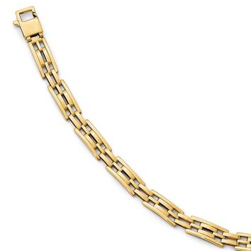 8mm 14k Yellow Gold Polished Men's Link 8-Inch Bracelet