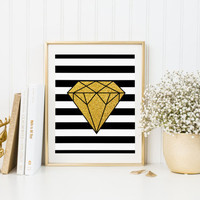 Gold Diamond Pencil Drawing Sparkle Poster Printable Drawing Watercolor Print Home Room Girl Decor Wall Art Gift Decoration FASHIONISTA