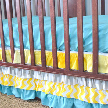 Custom Ruffled Crib Skirt or Dust Ruffle, with Elephants and Yellow, Gray, and Blue Fabrics, Made to Order