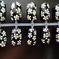 Hand painted daisy acrylic nails floral false nails white flower fake nails