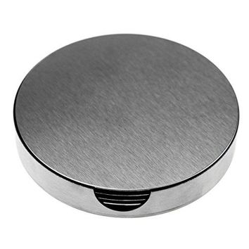 SINDBIN 6pc Stainless Steel Drink Coasters with Holder Table Coasters for Glasses Bar Drinks Mugs Coffee Cups