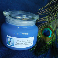 Peppermint & Eucalyptus Scented Soy Candle in Apothecary Jar with Lid
