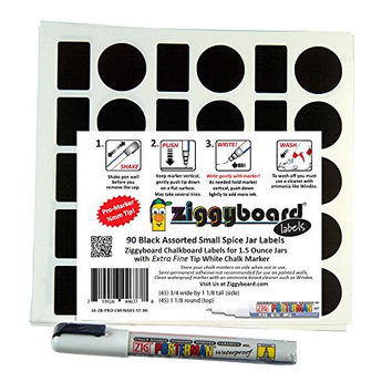 Ziggyboard Chalkboard for Mini Hexagon Spice Jar size Labels with Extra Fine Tip White Chalk Marker fit Small 1 1/2 Ounce Glass Jars Includes 90 total Side and Top Stickers
