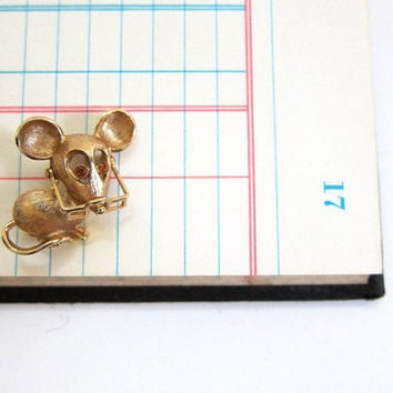 20% OFF SALE vintage tiny mouse pin with rhinestones eyes and glasses // small and dainty AVON pin