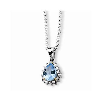 Sterling Silver & 14k Gold Sky Blue Topaz & Diamond Necklace