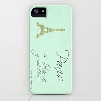 Audrey Hepburn Paris is Always A Good Idea Typography Iphone 5 Case Mate Barely There Case