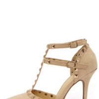 Wild Diva Lounge Adora 64 Natural Suede Studded Pointed Heels