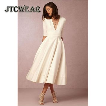 JTCWEAR Autumn Half Sleeve Dress Deep V Neck Fit and Flare Solid Color Swing Dress Tunic Sexy Night Club Party Calf Dress 636