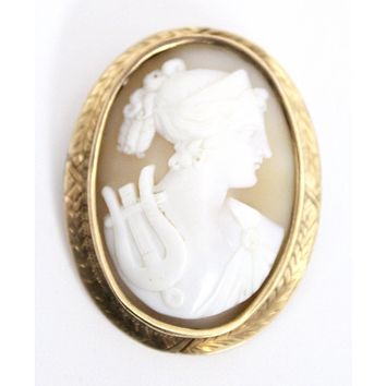"""Shell Cameo """"Orpheus"""" w/Lyre Brooch 10K Yellow Gold 1837-1910 Large 2""""  8 Grams"""