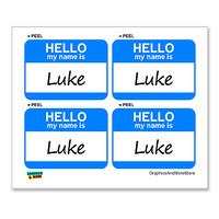 Luke Hello My Name Is - Sheet of 4 Stickers