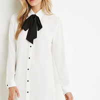 Self-Tie Neck Shirt Dress