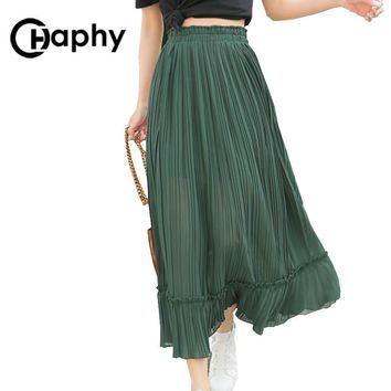 Solid Pleated Chiffon Ruffle Skirts High Waist Skirt 2017 Women Fashion Long A Line Ruffle Chiffon Skirts Summer Maix Skirt