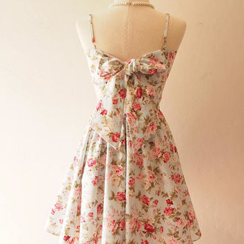 Floral Dress Blue Dress Floral Bridesmaid Dress Back Bow Dress /Swing Dance Dress / Summer Dress / Spaghetti Strap Dress / Vintage Sundress