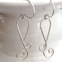 Wire Earrings, Sterling Silver Horseshoe Earrings, Curlicue Earrings, Handformed Stylized Horseshoe Earrings, 925 Sterling Silver Earrings