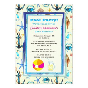 Beach Themed Pattern Pool Party Birthday Invite