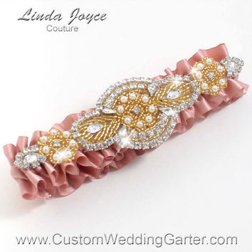 Sweet Nectar and Gold Vintage Wedding Garter Bridal Rhinestone 161 Sweet Nectar Custom Luxury Prom Garter Plus Size & Queen Size Available