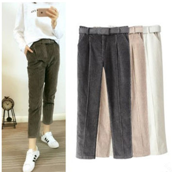 Women's Fashion Summer Stylish Lights Pants Casual Waistband Cropped Pants [4920270660]