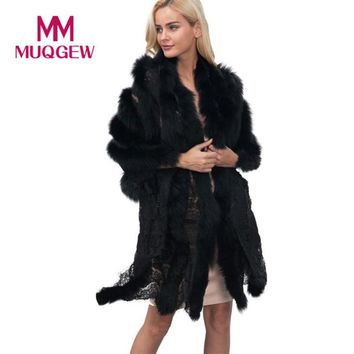 MUQGEW Beautiful cheap New Ladies Womens Lace Warm Faux Fur Coat Shawl Winter Parka Wrap winter coat women manteau femme hiver