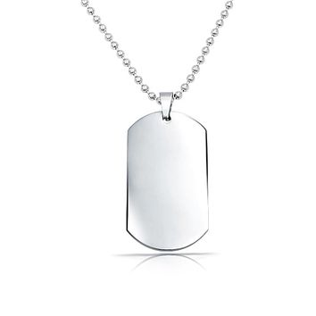 Dog Tag Army Pendant Necklace Engravable Stainless Steel Shot Bead