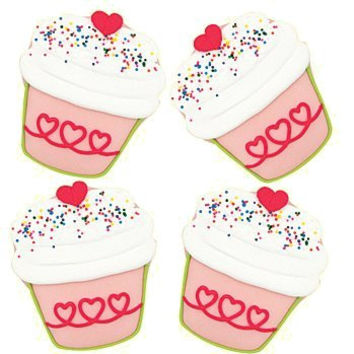 Set of 4 Large Cupcake Cookies Individually Wrapped